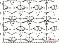 """How to make Crochet Stitch Pattern """"Cherry Blossoms"""". It's a very delicate and refined crochet stitch. This pattern is good for crochet blouses, skirts and dresses for girls. Crotchet Patterns, Crochet Stitches Patterns, Lace Patterns, Knitting Patterns, Crochet Tunic, Irish Crochet, Crochet Clothes, Crochet Lace, Crochet Diagram"""