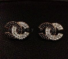 Chanel inspired stud Earrings vintage by Mondaybyme on Etsy, $17.00