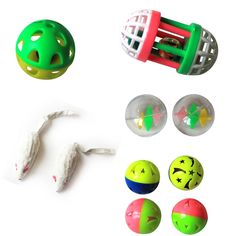 Iconic Pet - Fur mice Plastic Roller & Plastic Balls - Set of 5 - Two-Tone Plastic Ball with Bell - 4Pack – Assorted: 1.6 (4cm) two-tone plastic ball with bell 4 pack, in bright assorted colors with sound.Plastic Ball with Windmill inside - 2 Pack – Assorted: 1.6 (4 cm) plastic ball with windmill inside 2pack, transparent with rotating toy inside.Short Hair Fur Mice - Large - 2Pack – White: 4 (10.16 cm) Short Hair Fur Mice. The fur mouse comes in white color. The cat toy is a perfect toy f