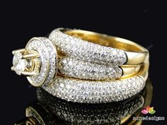 3.25 Carat 10K White Gold Diamond Rings Set Wedding Bridal Band Trio His & Her  #aonedesigns