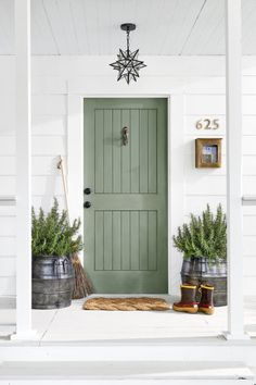 Featuring verdant shades, fragrant rosemary, and a starry pendant, this scheme is rooted in the great outdoors. Step up to natural beauty with this Artichoke paint by Sherwin-Williams. Brass woodpecker door knocker, $40; Anthropologie.Star pendant, $179;Pottery Barn.Cast-brasshouse numbers, $5;Home Depot.Brass mailbox, $98;Signature Hardware.Galvanized barrel planters, $198;Shop Terrain.Rope doormat, $28;Coco Mats N' More.&nbsp...