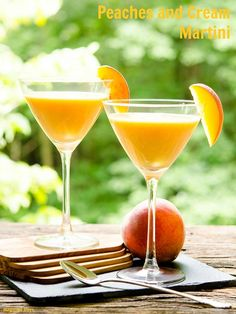 Peaches and Cream Martini made with fresh Georgia Peaches. It's the cocktail to sip on a hot summer day.