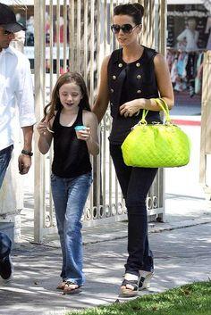 Kate Beckinsale's neon handbag
