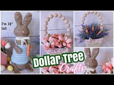 DOLLAR TREE DIY Spring Decor CraftsSharing MORE Dollar Tree DIY Spring and Easter Decor crafts! These would go perfectly with the Dollar Tree Spring beaded wreath I made last week. Thes. Dollar Tree Decor, Dollar Tree Crafts, Bunny Crafts, Easter Crafts, Diy Projects Easter, Easter Ideas, Crafty Projects, Spring Crafts, Holiday Crafts
