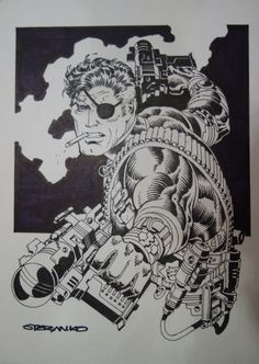 Nick Fury by Jim Steranko, in Michael Barrera's Jim Steranko Comic Art Gallery Room Comic Book Artists, Comic Artist, Comic Books Art, Jim Steranko, Secret Warriors, Graphic Novel Art, Nick Fury, Black White Art, Comic Character