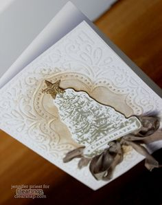 Celebrate Vintage Christmas Tree Card - Platinum on White by Jennifer Priest hydrangeahippo for Clearsnap 2