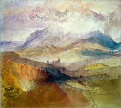 Joseph Mallord William Turner, RA A distant view over Chambery, from the north, with storm clouds, 1836 Watercolour x in x 273 mm) Watercolor Landscape, Abstract Landscape, Landscape Paintings, Joseph Mallord William Turner, Turner Watercolors, Turner Painting, Traditional Paintings, Art Sketchbook, Art History