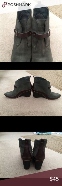 Olive booties, size 39 Excellent used condition. Worn about 5 times. Size 39. Olive gray suede with black and brown accents. Super cute and comfy - great quality brand and shoe - they got a ton of compliments! Selling because they're too small for me, sadly. Smoke and pet free home. Camper Shoes Ankle Boots & Booties