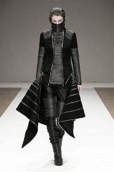 Sculptural Fashion - avant garde suit with graphic panels; dark futuristic fashion // Liberum Arbitrium S/S 2012