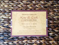 """Invite your guests to celebrate a love that will age as beautifully as wine.  As romantic as it is vintage, this invitations cordially whispers """"Italian winery."""" Enclosed with a silver sheer and edged ribbon and printed on natural paper with a faint background of grapes and leaves, this is the invitation for a classy wedding  Vintage Class Winery Themed Wedding / Rehearsal by imaginationpad, $27.50"""