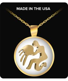 Zodiac Sign Aquarius - Gold Plated Necklace