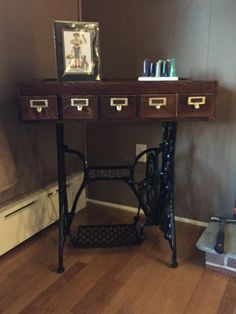 Card Catalog drawer & Singer sewing machine table