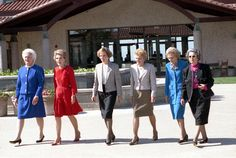 First Ladies Barbara Bush, Nancy Reagan, Rosalynn Carter, Betty Ford, Pat Nixon, and Lady Bird Johnson at the Dedication of the Ronald Reagan Presidential Library , 11/04/1991 So many first ladies! @Donna Louise