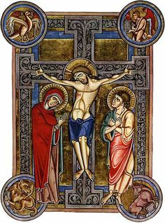 Crucifixion from the Weingarten Missal, 13th century, showing the four evangelists' symbols in the corners. It shows a very Old Germanic style, before the influence of the Italian Renaissance.