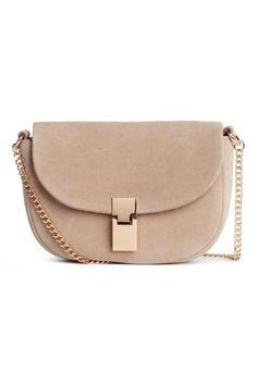 Suede shoulder bag - Light beige - Ladies | H&M GB 1