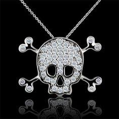 Diamond Skull and Bones Pendant Necklace 14K White Gold $669 #orospot #pendant #necklace #skull #gold #fashion #diamond