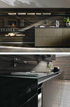 Linear steel fitted #kitchen RICICLANTICA INOX TOUCH by VALCUCINE | #design Gabriele Centazzo @valcucine