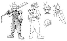 View an image titled 'Cloud Early Concept Sketch' in our Final Fantasy VII art gallery featuring official character designs, concept art, and promo pictures. Final Fantasy Artwork, Final Fantasy Characters, Final Fantasy Xv, Fantasy Series, Game Character Design, Drawing Reference Poses, Video Game Art, Humor, Comic Art