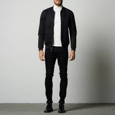 Mens Cotton Bomber Jacket In Black | DSTLD