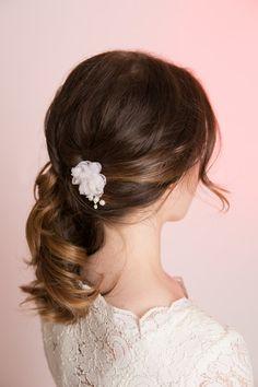 Silk Organza Bridal Flower Comb Wedding Hair Silk by MilaKolitsova