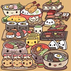 special *virtual* buffet for you~ ^^♥ Share if you're craving Japanese food right now!    Can you identify all the food in this picture? Try to list as much as you can in the comments below! (ง •̀v•́)ง ☆ | JapanLove.me