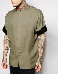 Image 3 ofASOS Shirt In Drape Fabric With Batwing Sleeve And Grandad Collar