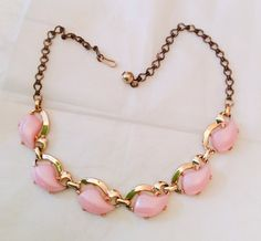 Pink Moonglow Lucite Necklace Gold Tone Bookchain by OurBoudoir, $28.00