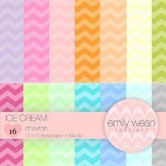 Digital Paper - Ice Cream - Chevron Background- FREEBIE!