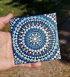 Blue dot painting mandala canvas, 4 x home decor, wall art, acrylic, art Mandala Artwork, Mandala Canvas, Mandalas Painting, Mandalas Drawing, Mandala Dots, Acrylic Painting Inspiration, Canvas Painting Tutorials, Dot Art Painting, Mandala Painted Rocks