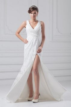 Lace V-Neck Floor Length Column Wedding Dress - Focus Vogue