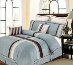 Amazon.com: 12pc Bed-in-a-Bag Ridgewood Blue Comforter Set -- Size: king: Home & Kitchen