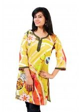 Yellow and Green  Blue Pure Cotton Kurti with abstract Print-JK1558