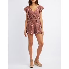 Charlotte Russe Polka Dot Surplice Romper ($25) ❤ liked on Polyvore featuring jumpsuits, rompers, taupe combo, playsuit romper, white rompers, charlotte russe rompers, ruffle romper and charlotte russe