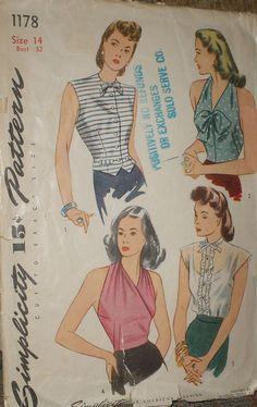 Vintage 1940s Simplicity 1178 Halter Top Weskit Blouse Pattern 32B sz 14