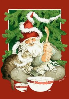 Gnome and cat prepare for Christmas -- by Inge Look