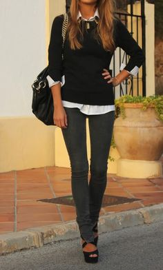 classics - black crew neck sweater, white button-up shirt, grey-wash jeans.  minus the jewelry and shoes.