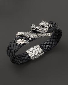 John Hardy Men's Naga Sterling Silver Dragon Woven Black Leather Bracelet | Bloomingdale's