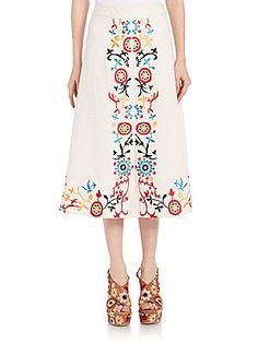 Alice + Olivia Giselle Embroidered Midi Skirt - Natural Color - Size