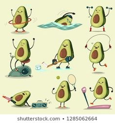 Cute Avocado Take Exercise Eating Healthy Stock Vector (Royalty Free) 1285062664 Avocado Cartoon, Avocado Art, Cute Avocado, Food Cartoon, Cartoon Art, Cartoon Building, Teenager Birthday, Easy Doodle Art, Hippie Painting