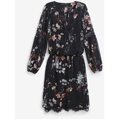 White House Black Market Long-Sleeve Floral-Print Dress (2,930 MXN) ❤ liked on Polyvore featuring dresses, long sleeve dress, boho dresses, bohemian style dresses, petite floral dress and white house black market
