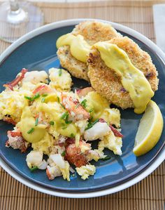 Lobster Scrambled Eggs with Wasabi Hollandaise and Crispy Leek and Potato Cakes Recipe - RecipeChart.com
