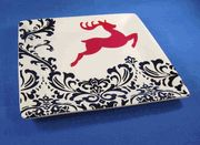 Black and Red Square Server with Reindeer, 11 inches square