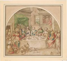 Italian School | Wedding at Cana, in a Lunette | The Morgan Library & Museum