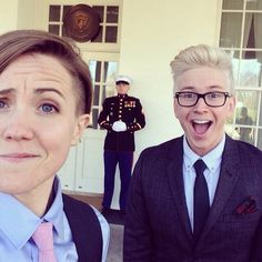Hannah Hart and Tyler Oakley at the White House