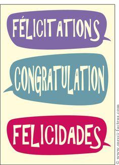 Carte F�licitations congratulation felicidades pour envoyer par La Poste, sur Merci-Facteur !
