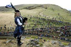 Louise Marshall- piping on top of 'Haggis Knowe', Arthur's Seat, Edinburgh