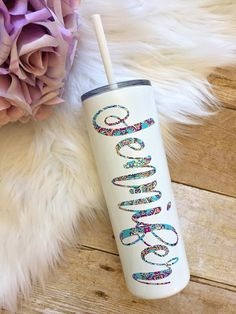 That Inspired Chick on Etsy, white stainless steel personalized tumbler