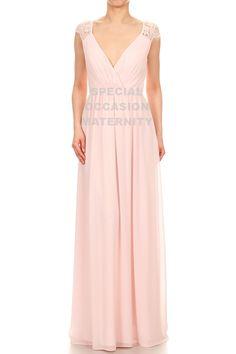 Early Trimester Maternity Dress. Long Blush Deep Vneck Bridal Gown.