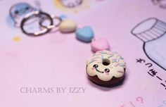 Donut with three hearts yellow, pink and blue pastel keyring £3.00