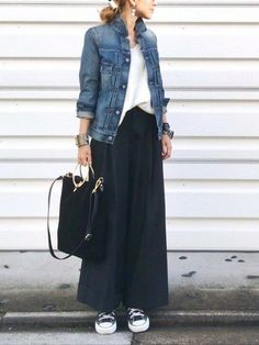 #Newest #street style Modest Fashion Ideas Look Fashion, Japan Fashion, Denim Jacket Styles, Denim Jacket And Dress, Modest Fashion, Hijab Fashion, Korean Fashion, Fashion Outfits, Womens Fashion